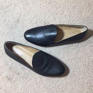 Franco Sarto Black Leather Bishop Loafers
